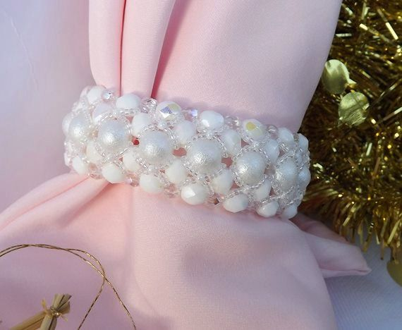 Birdal jewelry/Bride bracelet/ White by Mammybluebeads on Etsy