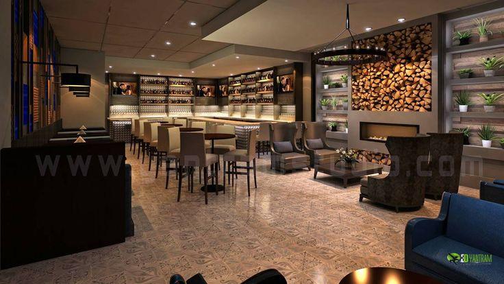 Night view 3D Bar #InteriorDesign for #Modern Style