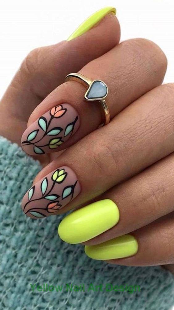 23 große gelbe Nail Art Designs 2019 1 #nailartideas #nailarts