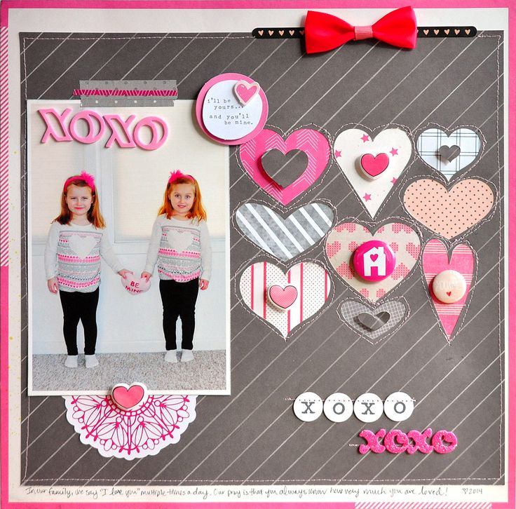 XOXO - Scrapbook.com  Love the adorable embellishments used on this layout.