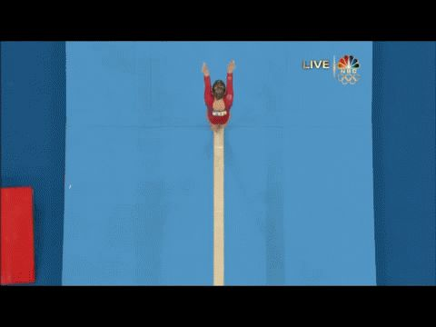 Shawn Johnson gif. 2008 Olympics All-Around Beam first pass back handspring, back handspring, layout #gymnastics #silver