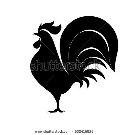 Rooster silhouette, vector illustration.