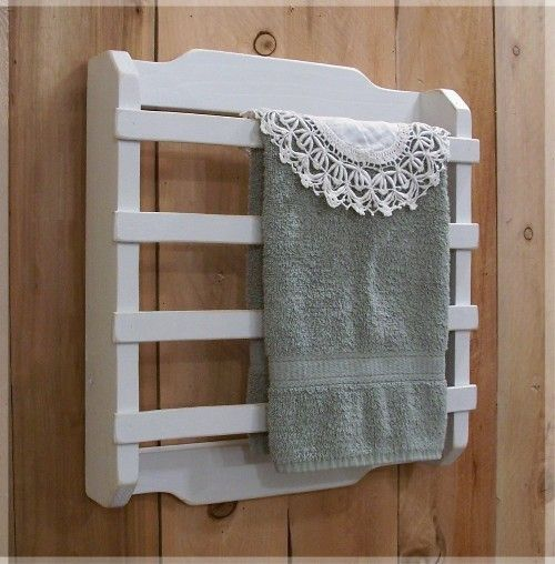 Shabby chic towel rack 4 slat kitchen bathroom laundry for Shabby chic towel stand