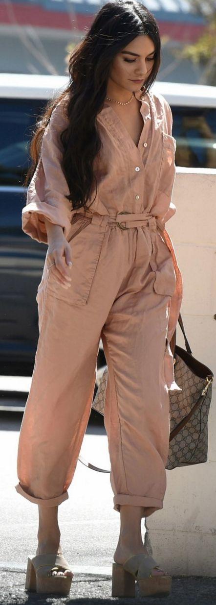 Who made  Vanessa Hudgens' pink jumpsuit, brown print handbag, and platform sandals