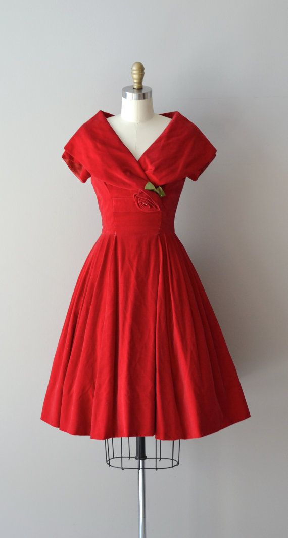 7ad0afce5bc Billetdoux dress   red 1950s dress   velvet 50s by DearGolden ...