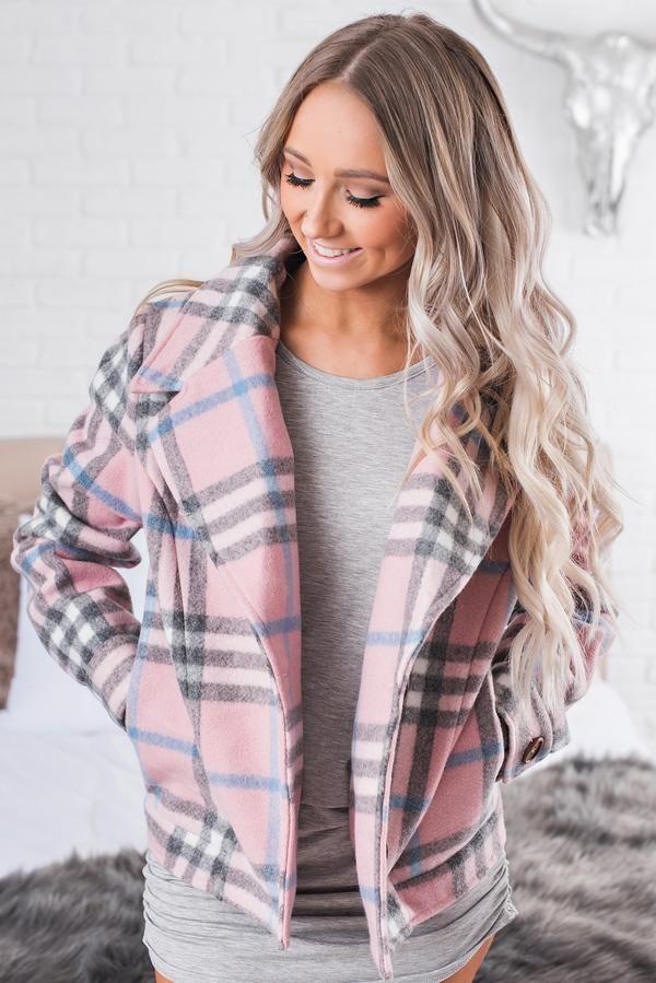 Telling Secrets Plaid Jacket (Pink) - NanaMacs Boutique