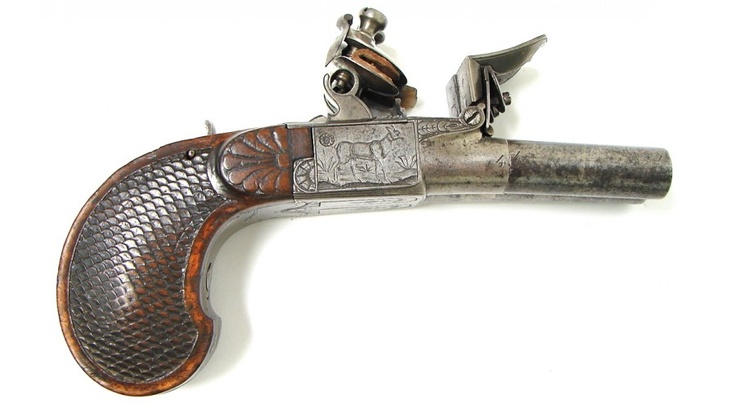 belgian double barrel flintlock approximately  45 caliber