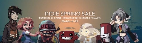 Steam Indie spring sale    http://www.gamesta.com/steam-goes-nuts-with-indie-and-dark-souls-sale-and-free-natural-selection-2/    Gamesta.com has one more big sale to push on everyone. Steam has launched an indie spring sale with hundreds of titles at a rather generous discount. If that's not good enough, there are also some free incentives and other big title discounts.