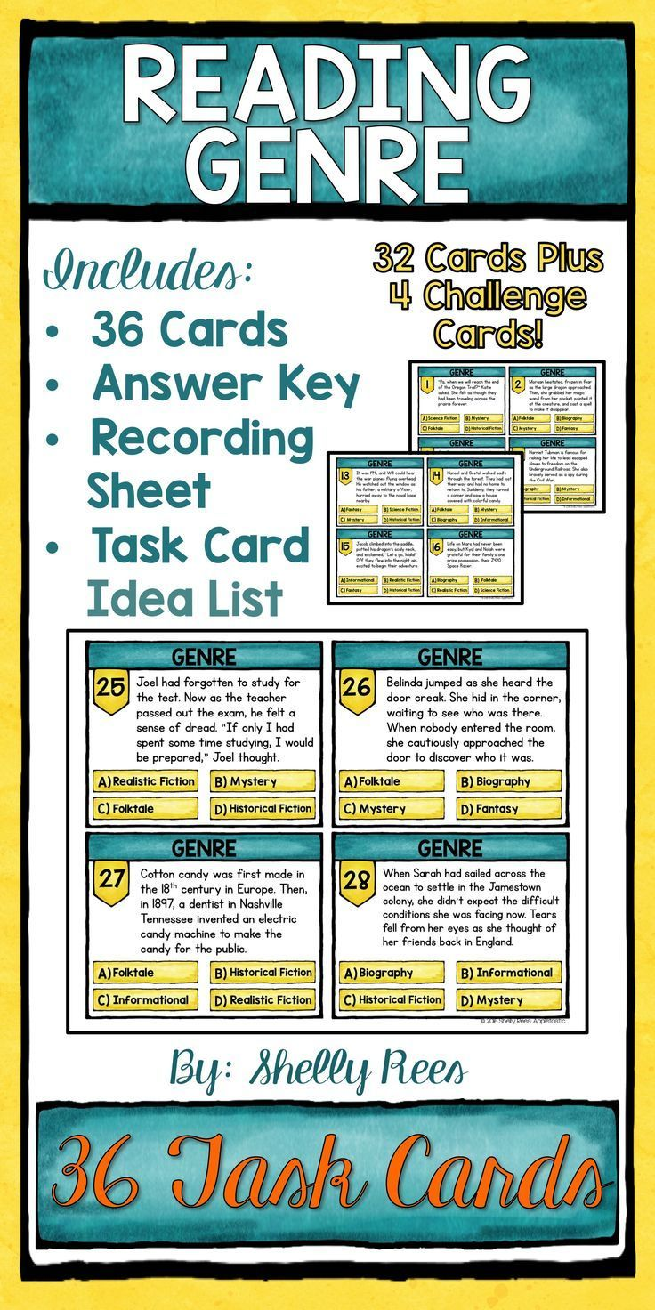 Reading Genre Activity Task Cards. Students will love practicing identifying 8 different reading genres with this set of high-interest, fun genre task cards! Perfect for grades 3-6! Click to see them today! LOVE these!