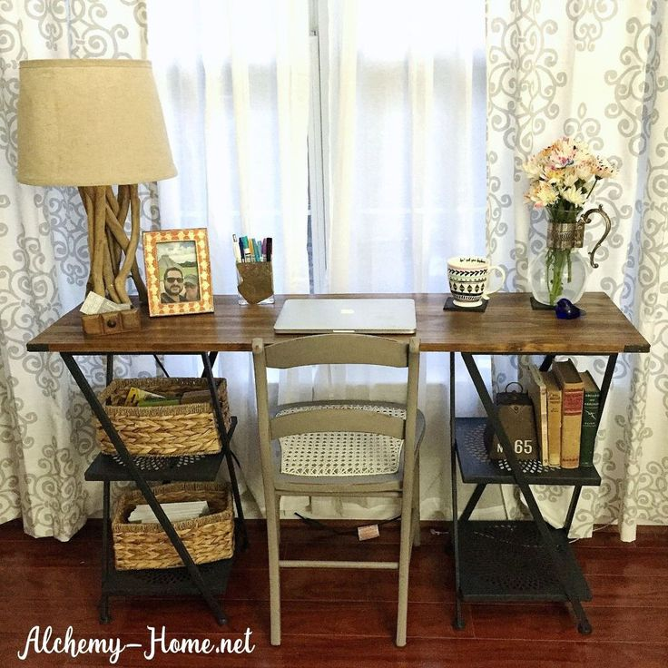 Make an Industrial Desk from Metal Shelves (No Tools Needed!)