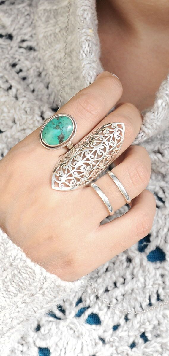 Silver Rings,Silver Statement Ring,Big Silver Ring,Large Silver Rings For Women,Sterling Silver Long Rings,Modern and Clean Style,BOHO Rings