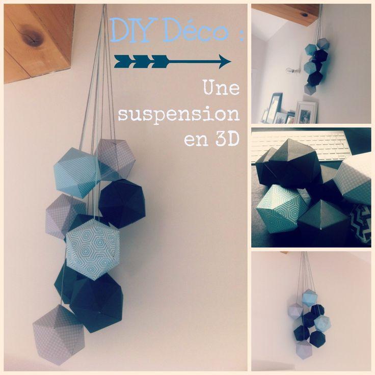 diy tuto et patron les suspensions 3d origami pinterest origami craft and bricolage. Black Bedroom Furniture Sets. Home Design Ideas