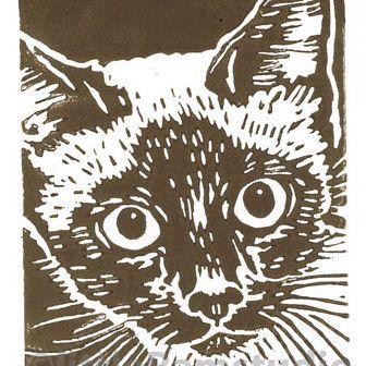 Siamese Cat - Original Hand Pulled Linocut Print £18.00