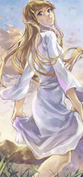 Zelda from The Legend of Zelda Skyward Sword, in her goddess dress