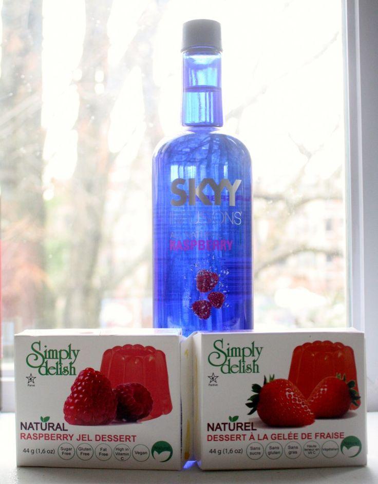 Vegan Jello Shots // raspberry vodka, water, simply delish vegan jelly