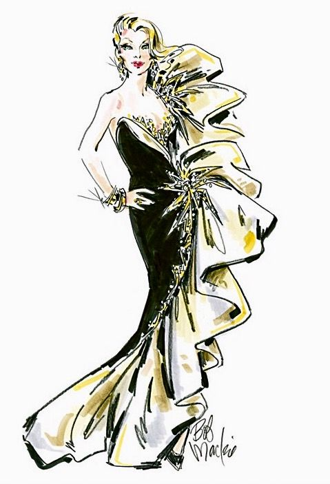"Bob Mackie ""Dazzle"" gown design for a Bradford Exchange diamond ring also designed by Mackie."