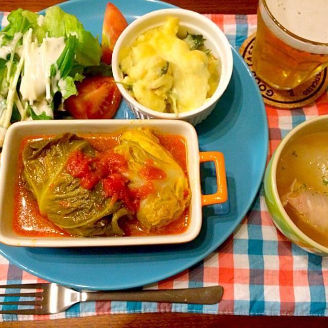 春キャベツと新玉ねぎを使って春レシピ(・v・) - 10件のもぐもぐ - 春ロールキャベツ 新玉ねぎまるごとスープ by hasese