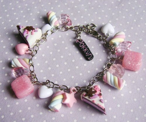 DIY polymer clay candy bracelet.