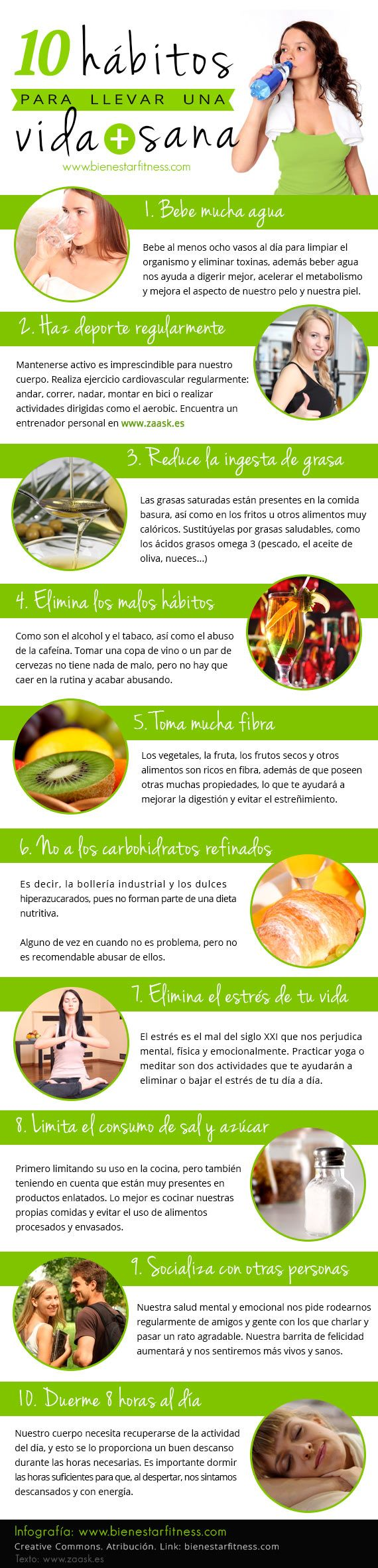 10 habitos para llevar una vida más sana infografia  #infografía #salud #vidasana #infographics  www.bienestarfitness.com Blog de Fitness en español