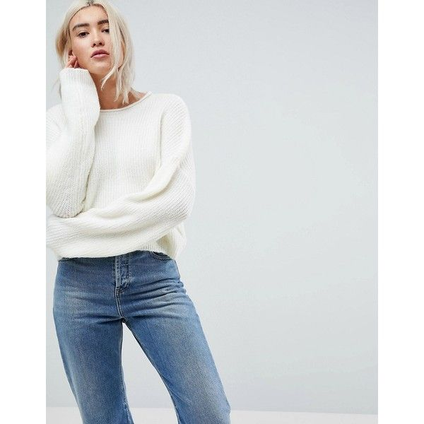 ASOS Cropped Oversized Jumper ($38) ❤ liked on Polyvore featuring tops, sweaters, cream, party jumpers, party crop tops, baggy sweaters, long sleeve tops and oversized jumper