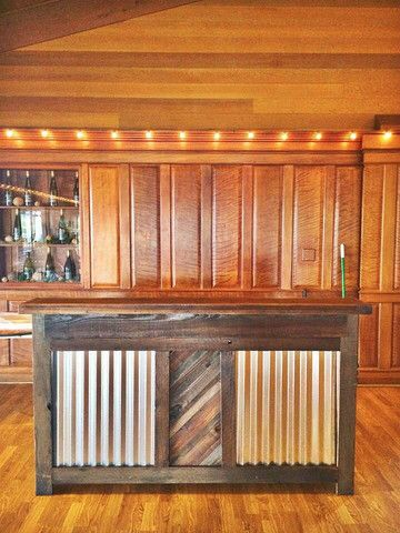 Reclaimed wood corrugated metal bar backyard for Reclaimed wood dc