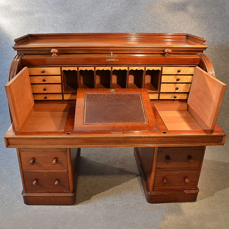 Antique Fine Victorian Writing Bureau Large English Cylinder Roll Top Desk C1870 | 246225 | Sellingantiques.co.uk