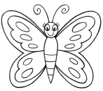 How To Draw A Butterfly In Easy Way Art Designs Grandchildren Pinterest Coloring Books