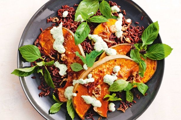 Sticky Asian pumpkin & red rice salad main image