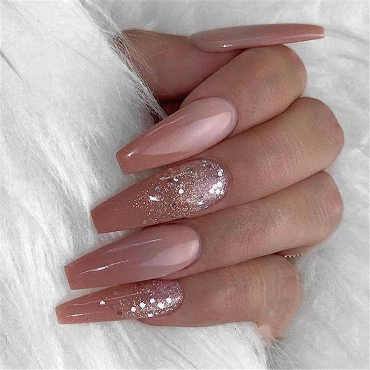 600 teile / beutel Ballerina Nail art Tipps Transparent / Natürliche Falsche Sa…