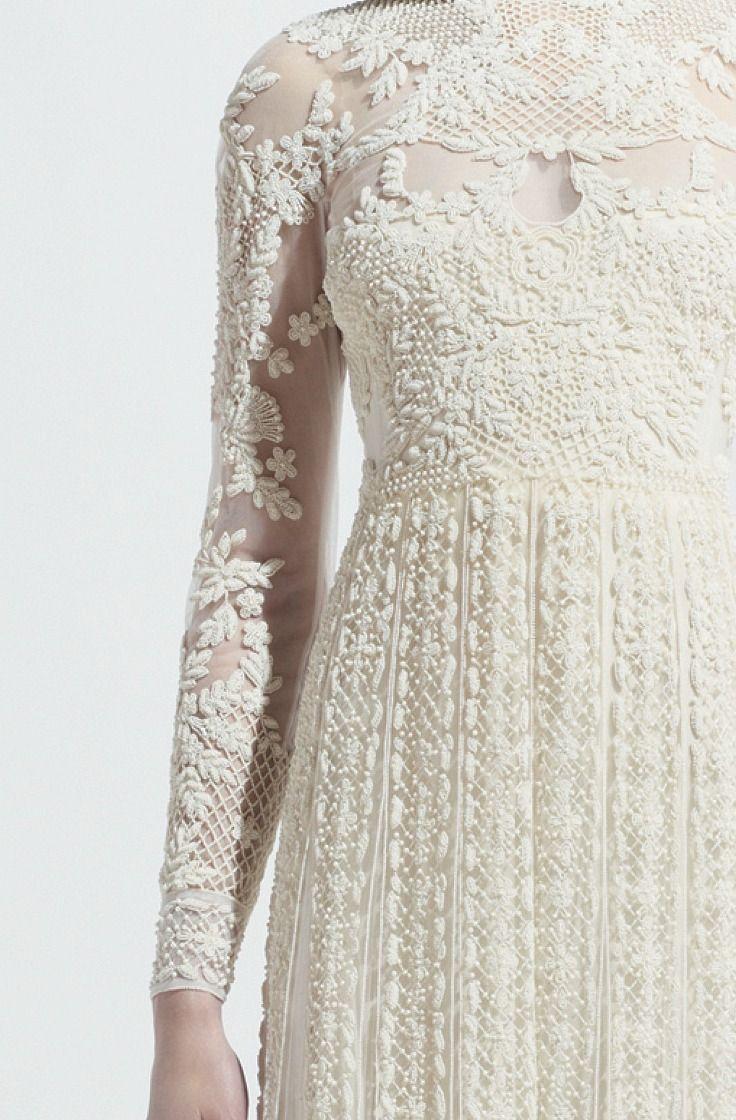 long sleeves, wedding dress, high waist, lace