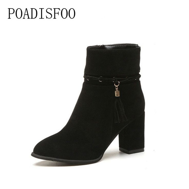 Women Ladies Suede Faux Boots Ankle Zipper Martin Shoes Casual Shoes Pointedhigh-heeled Shoes (A 37)