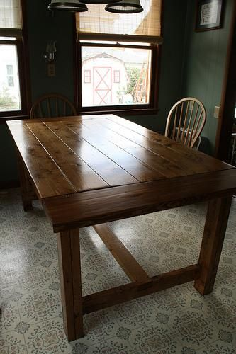 Farmhouse table do it yourself home projects from ana white for the home pinterest - Ana white kitchen table ...