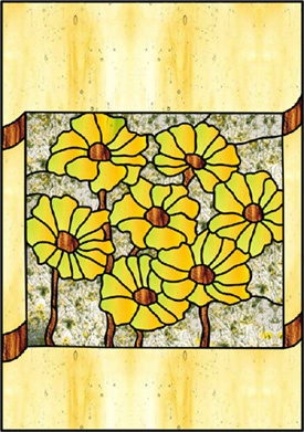 Stained+Glass+Patterns+Flowers   Stained Glass Patterns :: Yellow Poppy Patch Flower Pattern ::