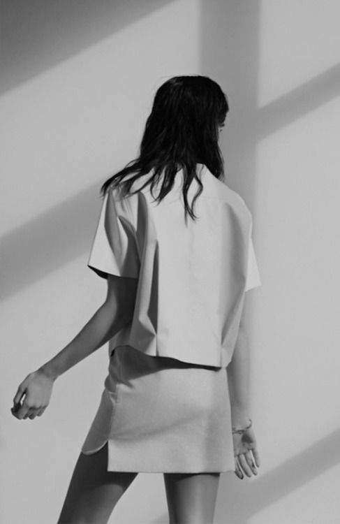 Crisp white top & skirt - minimal fashion, clean minimalist style