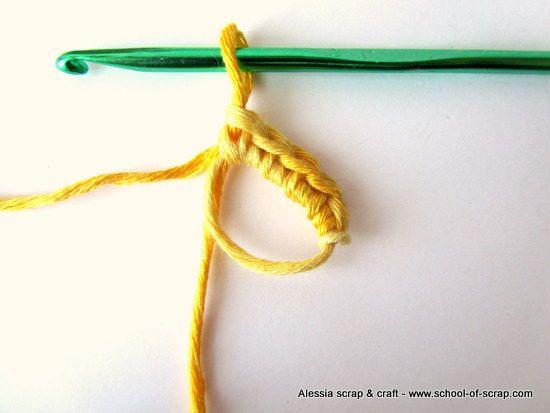 Anello Magico - Si fa un nodo d'inizio lasciandolo bello largo e si usa come un anello, si lavora dentro il primo giro di maglie basse e poi si stringe.