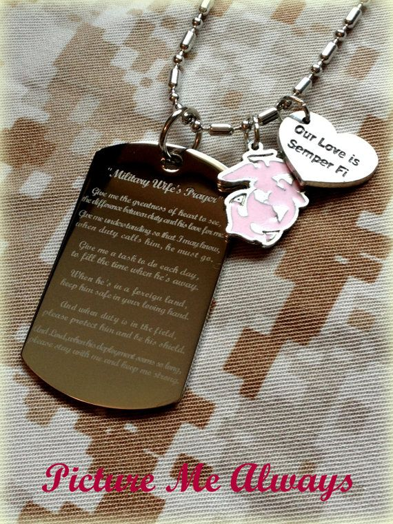 Engraved Military WIfe's Prayer Dog Tag by PicMeAlwaysDesigns