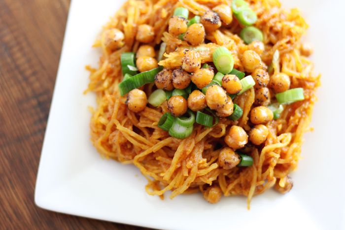 Spaghetti Squash Curry with Roasted Chickpeas- vegan & gluten-free