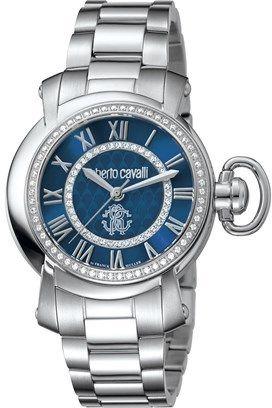Roberto Cavalli Womens Silver Watch With Dark Blue Dial.
