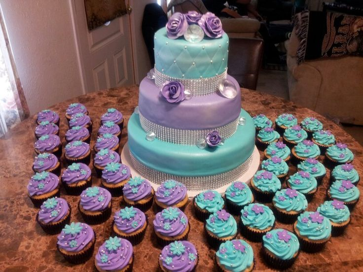 Quinceanera Cakes With Cupcakes Purple and Turquoise c...