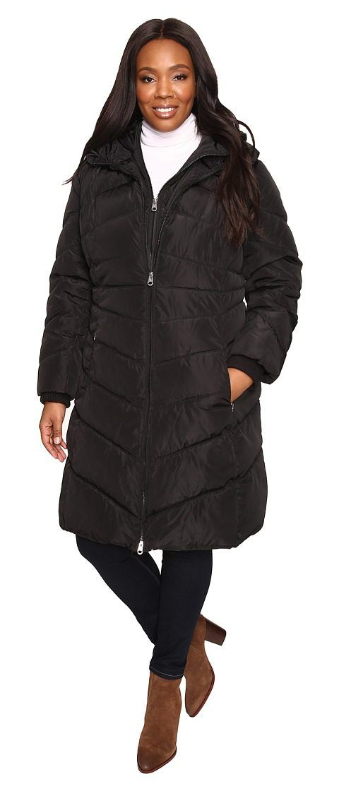 Jessica Simpson Plus Size Chevron Quilted Poly Down Coat with Hood (Black) Women's Coat - Jessica Simpson, Plus Size Chevron Quilted Poly Down Coat with Hood, JOHWP565-001, Apparel Top Coat, Coat, Top, Apparel, Clothes Clothing, Gift, - Street Fashion And Style Ideas