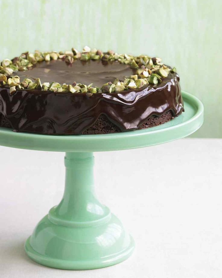 Chocolate-Pistachio Torte - I made this for a holiday party once and am making it again tomorrow! Really quite deceptively simple for something so pretty and someone who is not a fan of baking.