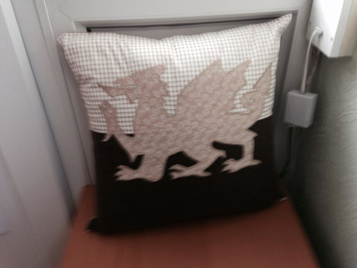 Cushion for Gareth. Managed to get the dragon the right way round on the second attempt.