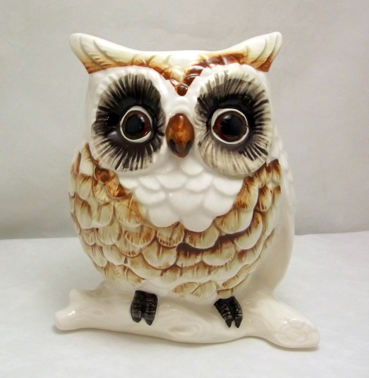 Vintage Lefton Ceramic Owl Planter Vase Brown And White