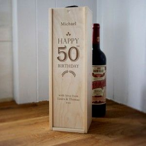 personalised wooden wine box happy 50th birthday. Black Bedroom Furniture Sets. Home Design Ideas