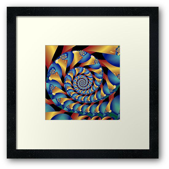 Archimedes' Blue & Gold Tangent Framed Print by Terrella.  A pattern of spirals reminiscent of Archimedes' Screw, almost intertwining spirals, of blue and gold with accents of amber, teal and green. • Also buy this artwork on wall prints, apparel, phone cases, and more.
