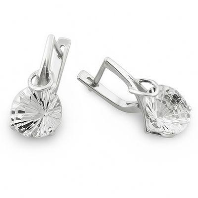 Серебряные серьги с горным хрусталем цена - 3840 рублей