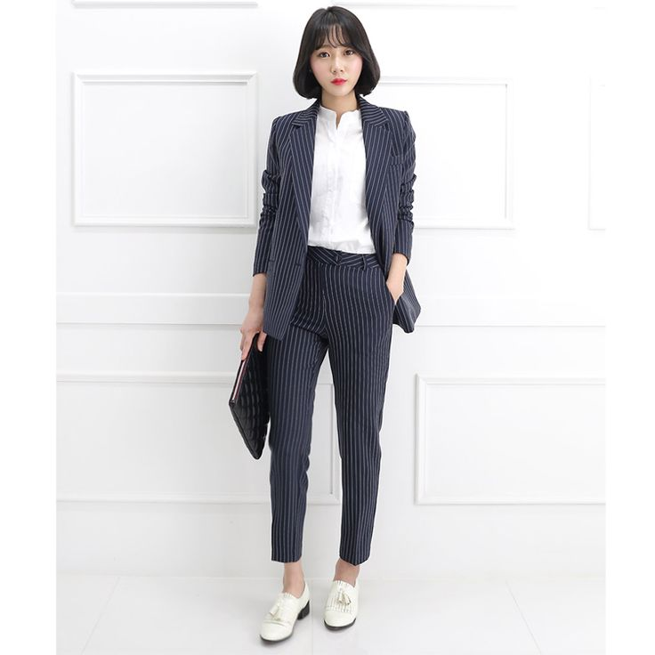 South Korea New British Style Vertical Stripes Casual Trousers Loose Thickening strip elegant leisure women office lady suit //Price: $62.03 & FREE Shipping //     #Shopping