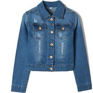 43f4429419da5 Eliacher Girlsâ Ripped Denim Jacket Long Sleeve Stylish Fashion Trendy Jean  Jacket Coats Age 3-14 Years  girl  coat  jacket  fashion  moda  beauty   elegant