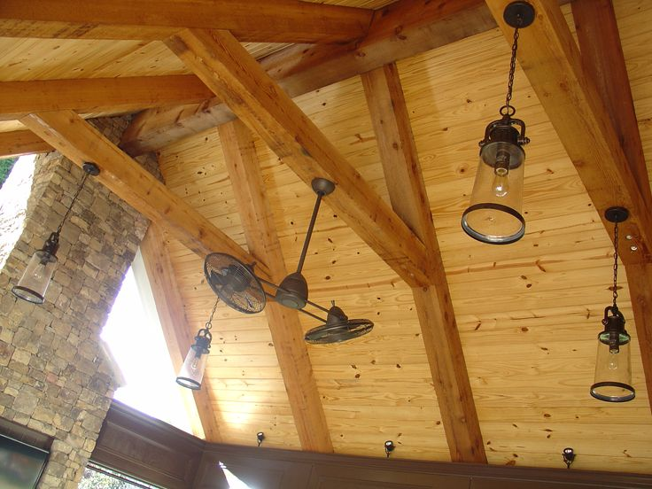 covered porch - pine v-groove, tongue and groove ceiling with