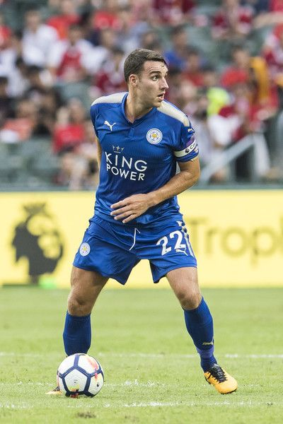 Leicester City FC midfielder Matty James  (L) in action during the Premier League Asia Trophy match between Leicester City FC  and West Bromwich Albion at Hong Kong Stadium on July 19, 2017 in Hong Kong, Hong Kong.